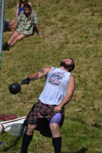 HOMER TRIBUNE/Sean Pearson Athletes in Saturday's Kachemak Bay Highland Games at Karen Hornaday Park competed in events such as the Heavy Weight for Height