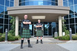 boys In Kilts CEO Chris Carrier (left) and creator Nicholas Brand (right)