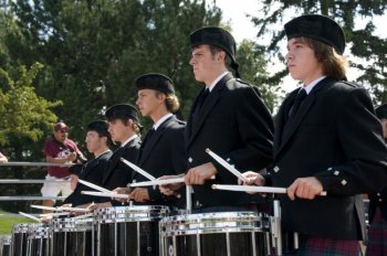 Pipe musical organization and Kiltie Marching Band drummers