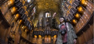 a customer takes a picture inside the Chapel for the Order associated with the Thistle, in St Giles' Cathedral, Royal Mile, Edinburgh